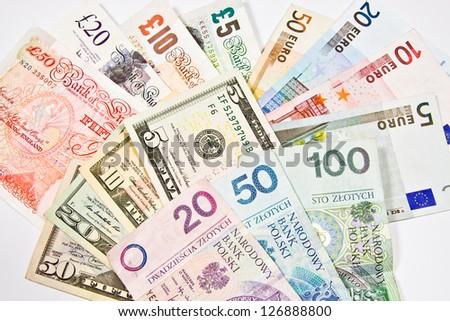Dollar, Euro, Pound, PLN, Currency of the United States, England, Polish and Euro - stock photo