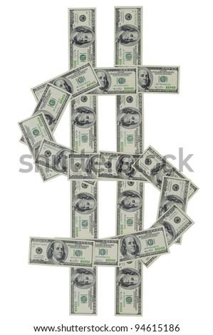 Dollar figure of hundred dollar bills - stock photo