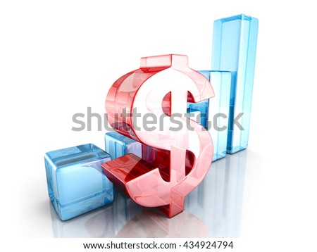 dollar financial success bar chart graph. 3d render illustration - stock photo