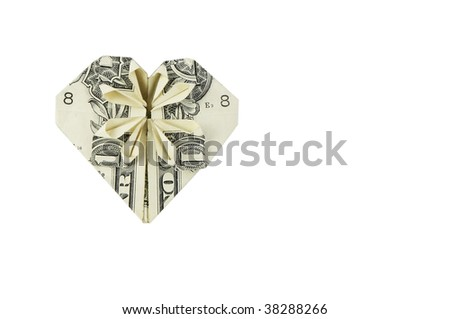Dollar folded into heart