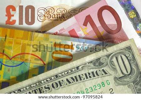dollar, franc, euro, pound currency from usa, Europe, swiss, england - stock photo