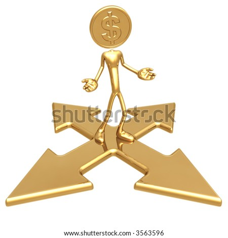 Dollar Gold Coin At A Choice Of Direction - stock photo
