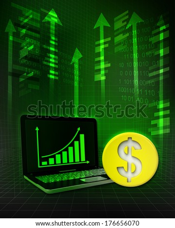 Dollar gold coin with positive online results in business illustration - stock photo