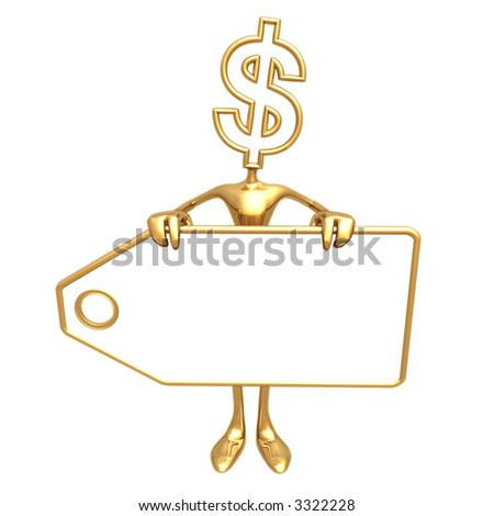 Dollar Holding Blank Price Tag - stock photo