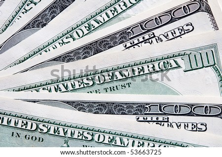 dollar hundred banknote background. closeup