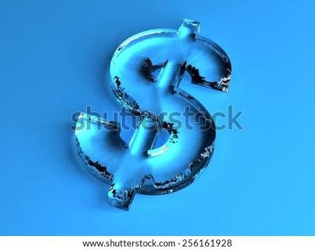Dollar ice sign isolated on blue background - stock photo