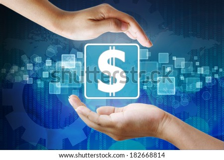 Dollar icon in hand,business background