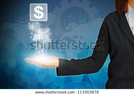 Dollar icon on button on hand woman business - stock photo