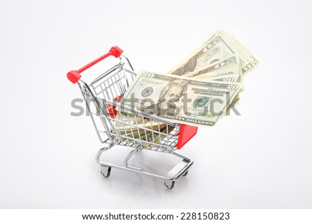dollar in shopping cart on the white background. Shopping concept