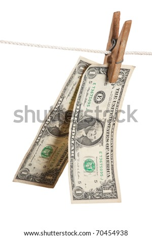 dollar is hanging on a wooden clothespin isolated on white background - stock photo