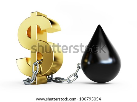 Dollar is tied to oil metal chains on a white background - stock photo