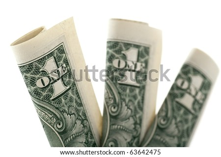 Dollar isolated on white - stock photo