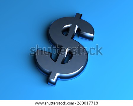 Dollar metal symbol  isolated on blue background