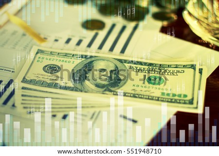 Dollar Money and graph business on table, success and profitable business concepts, Financial and business concept