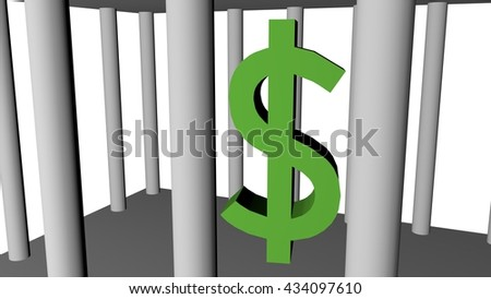 Dollar money in cage, 3D illustration - stock photo