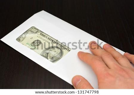 dollar money in envelope - stock photo