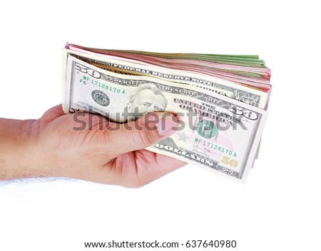 Dollar money showing in men's hand isolated on white background.