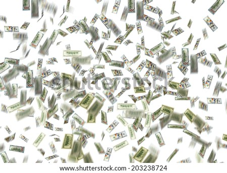 dollar note falling down over white background - stock photo