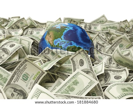Dollar notes and a globe. Elements of this image furnished by NASA.