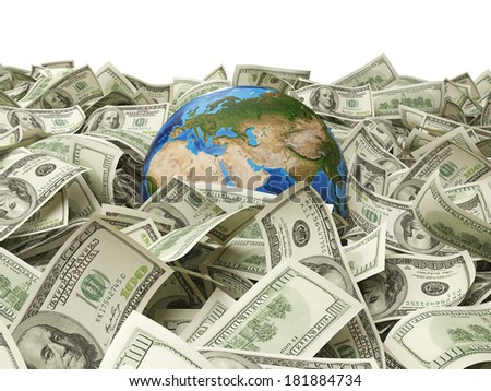 Dollar notes and a globe. Elements of this image furnished by NASA. 2 - stock photo