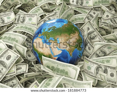 Dollar notes and a globe. Elements of this image furnished by NASA. 3