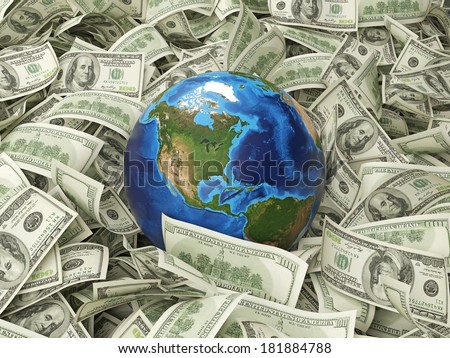 Dollar notes and a globe. Elements of this image furnished by NASA. 4 - stock photo