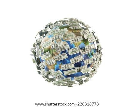 Dollar notes and a globe. Elements of this image furnished by NASA.  - stock photo