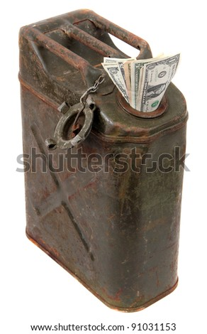 dollar notes and jerrycan - stock photo