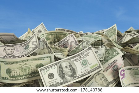 Dollar notes at the ground, outside 2, all nominals - stock photo