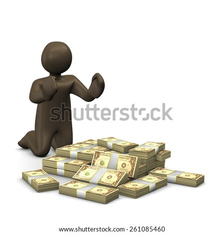 Dollar notes, 3d illustration with black cartoon character. - stock photo