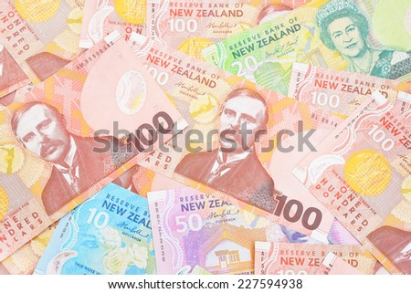 Dollar notes in New Zealand currency.  - stock photo