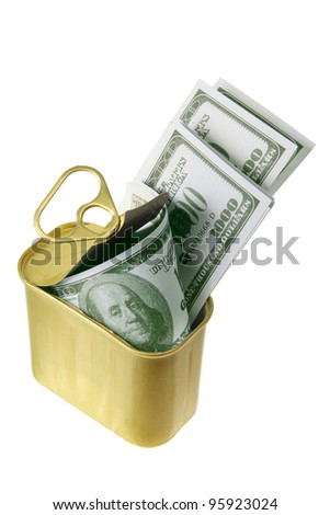 Dollar Notes in Tin Can on White Background
