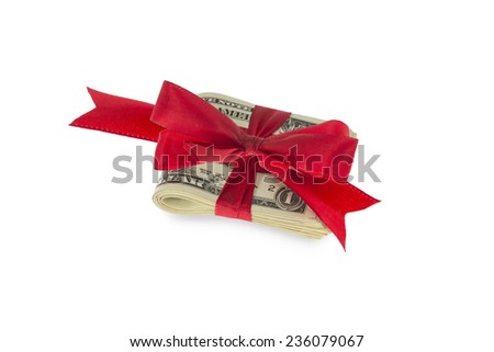 Dollar Notes with red ribbon isolated on white background