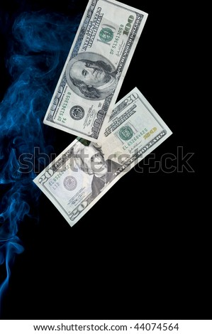 Dollar on black background with smoke