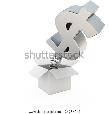 Dollar on spring in the gift box - stock photo