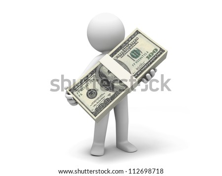 Dollar/one person  carry a bundle of dollars - stock photo