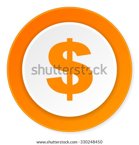 dollar orange circle 3d modern design flat icon on white background