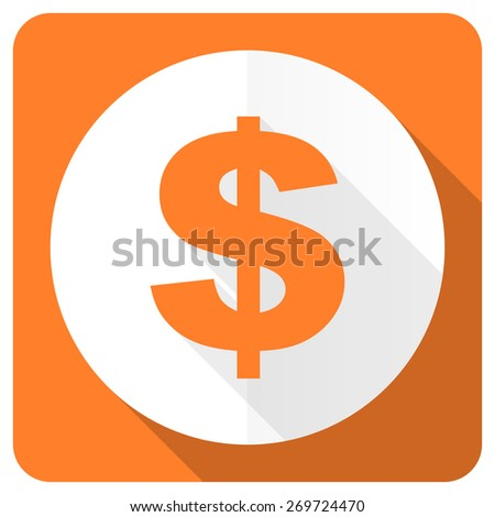 dollar orange flat icon us dollar sign