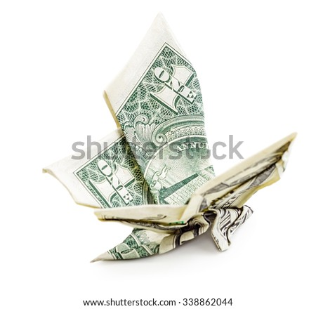 Dollar origami butterfly isolated on white background. Side view. Moneygami.