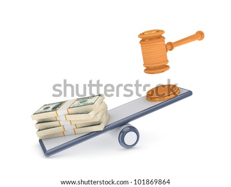 Dollar packs and lawyers hammer on a scales.Isolated on white background.3d rendered. - stock photo