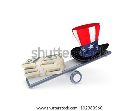 Dollar packs and uncle sam's hat on a scales.Isolated on white background. - stock photo