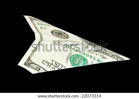 dollar plane isolated on black - stock photo