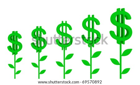 Dollar plants. Earnings growth concept.Isolated on white.3d rendered. - stock photo