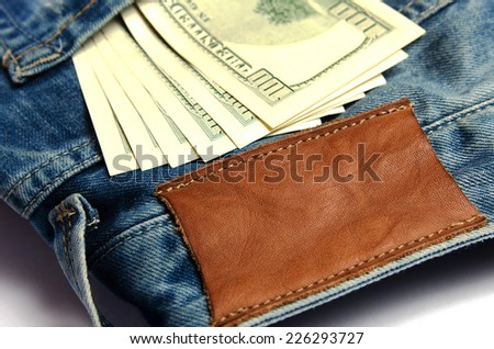 dollar pocket with focus on leather