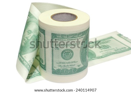 Dollar printed roll of toilet paper isolated on white.