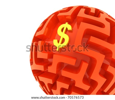Dollar puzzle. Money Sphere Maze