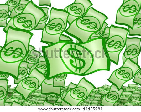 Dollar rain shower on isolated over white background