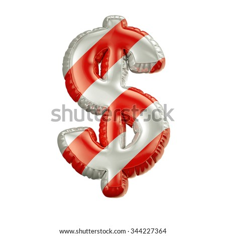 Dollar. Red and white Balloon font isolated on White Background.Birthday alphabet. - stock photo