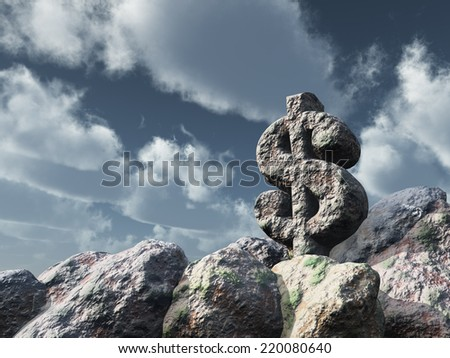 dollar rock under cloudy blue sky - 3d illustration - stock photo