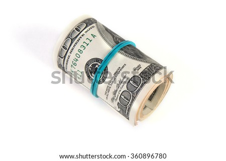 Dollar roll isolated on white background